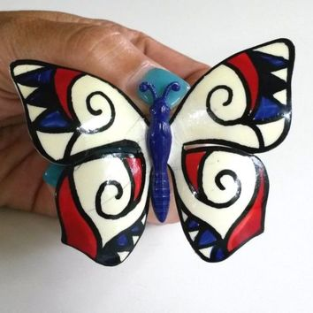 Vtg W Germany Butterfly Enamel Pin Patriotic Carnaby Street Mod Big Hand Painted