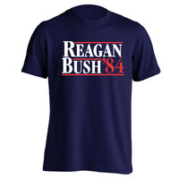 REAGAN Bush 1984 Election - funny hip retro political elect president ronald 80s republican cool new - Mens Navy T-shirt DT0028