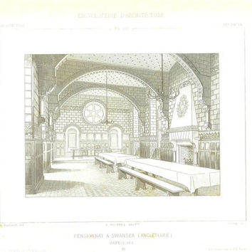1873  Architectural Drawing, School, Swansea, England,  Antique Print