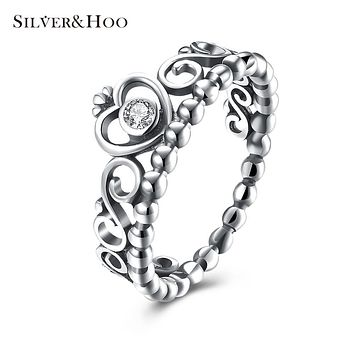 SILVERHOO 925 Sterling Silver Romantic Heart Crown Rings for Women Fine Jewelry Wedding Rings with Clear Zircon