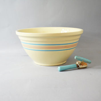 Striped Mixing Bowl, 14 Inch USA Pottery Bowl, Rare Large Striped Bowl, Blue and Pink Striped, Pink and Blue Striped Stonecraft Pottery
