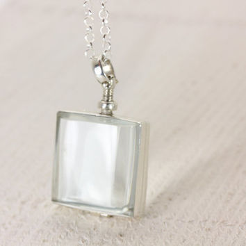 Brass Silver-Plated Square Glass Locket Pendant - CloseOuts - Christina Guenther
