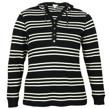 Charter Club Women's Striped Hoodie Sweater