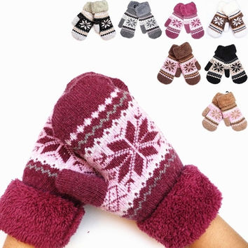 Women Wool Gloves Winter Warm Snow Cuffs Female Double Thick Mittens = 1958068420