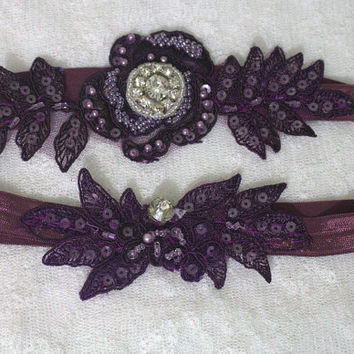 Wedding Garter,Purple Lace Bridal Garter,Wedding Accessory,Bridal Lingerie,Wedding Lingerie,Red and İvory Lace Garter