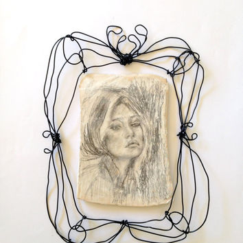 Wall art - Drawing on ceramic and wire frame - wall sculpture - Lonely girl