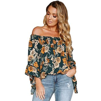 Dark Green Floral Fluted Sleeves Off Shoulder Top