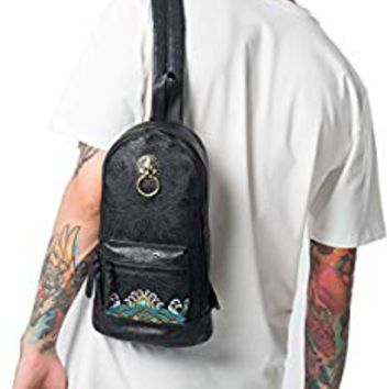 MM Hip Hop Unisex Sling Bag Black Fashionable Daypack Crossbody