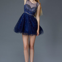 G2063 Sparkling Cap Sleeve Homecoming Cocktail Dress