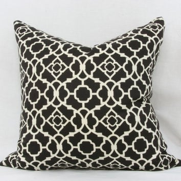 "Black & ivory pillow cover. Waverly lovely lattice sateen decorative pillow cover. 18"" x 18"" pillow."