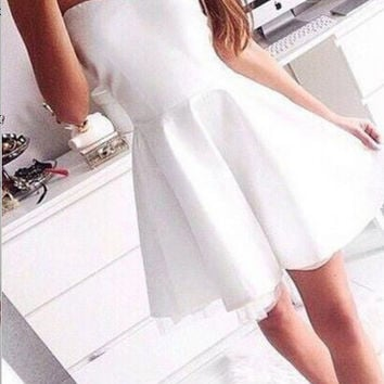 Homecoming Dress, Sweetheart Mini Satin White Simple Short Prom Dress