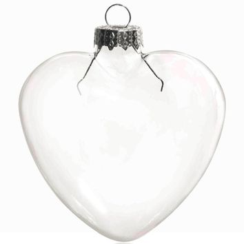 Promotion - DIY Paintable Transparent Christmas Decoration, 85mm Heart Glass Ornament With Silver Top, 5/Pack