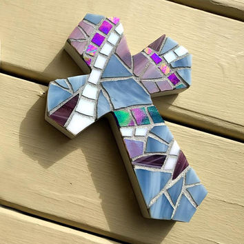 Handmade Blue Baptism Wall Cross, Blue Stained Glass Cross, Blue Mosaic Cross, Boy Baptism Gift, Small Blue Crucifix