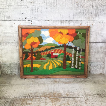 Embroidery Wall Art Rustic Crewel Wall Art Embroidered Farm Scene Framed Embroidery Farmhouse Crewel Picture Needlepoint Farmhouse Chic