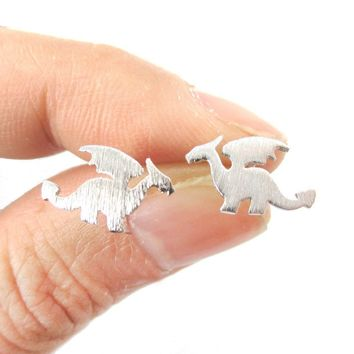 Classic Dragon Silhouette Shaped Allergy Free Stud Earrings in Silver | Animal Jewelry