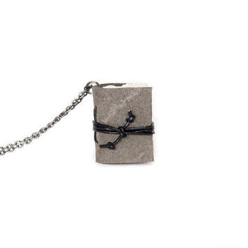 Leather miniature book necklace, mini journal jewelry, book lover literature gift, small tiny pendant, blank pages - rustic grey