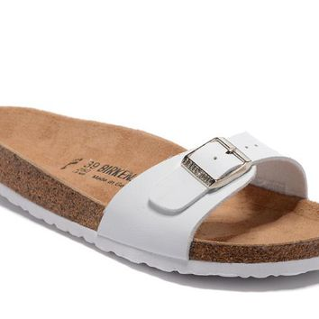 Birkenstock Madrid Sandals Couples Slippers - Patent White