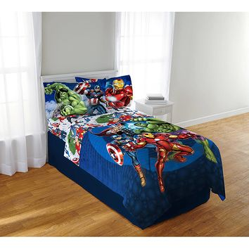 Avengers Blue Circle Sheet Set Multicolor Twin