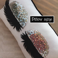 Silver Sequin Eyelash pillow Vanity decor Eyelashes Pillow Decorative Pillow Bedroom Living room Makeup sign Makeup artist