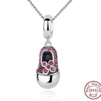 925 Sterling Silver Red Crystal Shoes Pendant Necklace