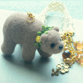 Handmade needle felted bear doll handbag charm, grizzly bear soft sculpture with bees & honey droplets charm
