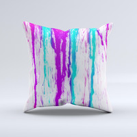 The Running Purple and Teal WaterColor Paint ink-Fuzed Decorative Throw Pillow