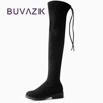Women Boots 2017 Autumn Winter Ladies Fashion Slim Flat Heel Leather Shoes Over The Knee Thigh Stretch Fabric High Long Boots