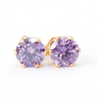 Round Violet Purple CZ Gold Filled Post Pierced Earrings | SusanSheehan - Jewelry on ArtFire