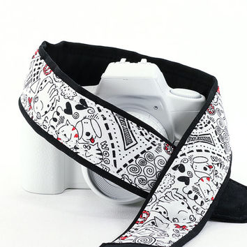 Doodles dSLR Camera Strap, Kid print, Scribbles, Art, Camera Neck Strap, Nikon Canon Strap, Quick Release, Pocket, SLR, 97