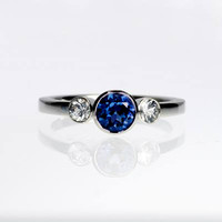 Blue sapphire and diamond trinity engagement ring, white gold, blue sapphire ring, three stone, blue engagement, diamond, bezel engagement