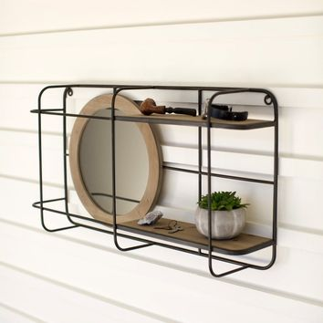 Wood & Iron Wall Unit with Round Mirror And Shelves