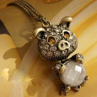 $5.99 Vintage Lovely Pig Jewelled Hollowed Pendant Necklace at Online Jewelry Store Gofavor