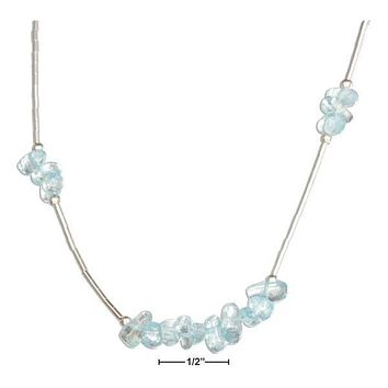 "STERLING SILVER 16"" BLUE TOPAZ NUGGETS ON LIQUID SILVER NECKLACE"