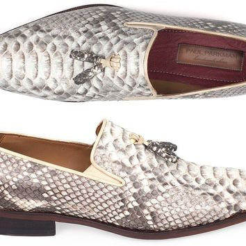Paul Parkman Men's Natural Genuine Python Tassel Loafers (ID#26NAT82)
