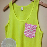 Neon Yellow with Pink Chevron Pocket Tank