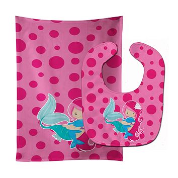 Beach Mermaid Pink Baby Bib & Burp Cloth BB8819STBU