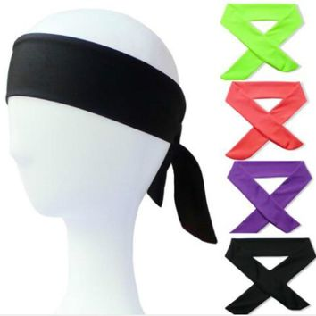 2018 New Cotton Tie Back Headbands Stretch Sports Sweatbands Hair Band Moisture Wicking Workout Bandanas Running Men Women Bands