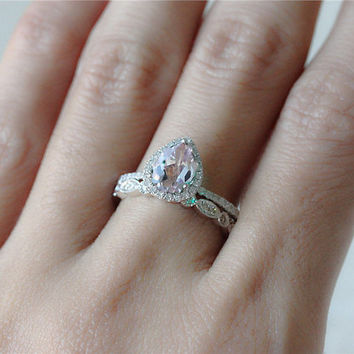 2 Rings Set 1.35ct Pear Shaped Pink Morganite Ring with Diamond Matching Band Wedding Ring  Morganite Ring Diamond Engagement Ring
