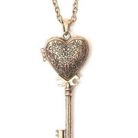 Heart Skeleton Key Locket Necklace Steampunk NK27 Gold Tone Pendant Fashion Jewelry