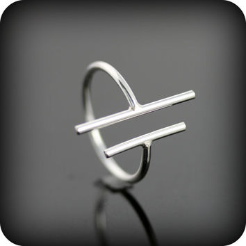 Two bars open ring - adjustable sterling silver ring