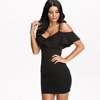 Flounced Off-shoulder Bodycon Mini Dress