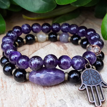 Amethyst Gemstone Beaded Mens Womens Copper Hamsa Hand