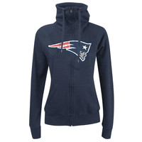 Women's New England Patriots New Era Navy Athletic Funnel Full-Zip Hoodie