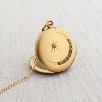 Antique Star and Crescent Moon Locket Necklace - Victorian Edwardian Gold Filled Round Paste Stone Pendant / Original Photographs