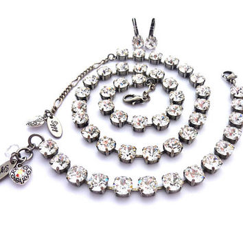 Swarovski Crystal Collar Necklace, 8mm Clear Crystals, Tennis Bracelet, Drop Earrings, Select A Finish, Classic and Elegant, Free Shipping