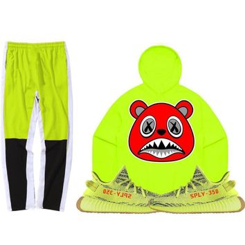 Yeezy 350 Boost Frozen Semi Yellow Sneaker Outfit - ANGRY BAWS - Track Pants + Hoodie