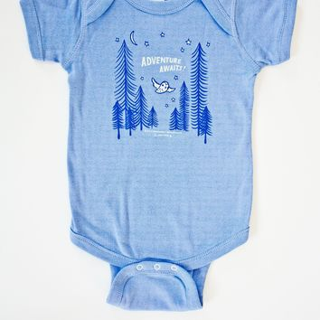 Adventure Awaits Baby Onesuit -- Owl / Forest Baby Outfit