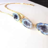 Agate geode druzy necklace - geode pendant long gold chain - fift for her