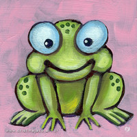 Happy frog - Wall Art for Kids baby nursery print children illustration home decor 6x6 inches from an original acrylic painting