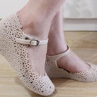 Ladies Summer Soft Jelly Rubber Floral Round Toe Wedge Heel Sandal Shoes CS55